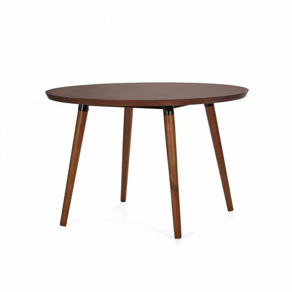 Обеденный стол Copine круглыйОбеденные<br>Крупный стол Copine круглый — актуальное решение для просторных кухонь больших семей. За его круглой столешницей могут свободноВуместиться до пяти человек, что очень удобно для тех, кто любит принимать гостей. Его современный дизайн в стиле датский модерн обязательно придется по вкусу всем, кто действительно разбирается в дизайне и ценит простой семейный уют. <br><br><br> Благодаря темной столешнице,Визделие отлично смотрится в интерьере с любым основным цветом. В зависимости от него...<br><br>stock: 0<br>Высота: 75<br>Диаметр: 120<br>Материал каркаса: Массив ореха<br>Тип материала каркаса: Дерево<br>Цвет каркаса: Орех американский<br>Дизайнер: Sean Dix