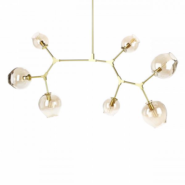 Потолочный светильник Branching Bubbles 7 лампПотолочные<br>Этот потолочный светильник не оставит равнодушными тех, кто стремится привнести частичку природы в свой дом. Он является настоящим хитросплетением форм и материалов — металлические крепления, напоминающие ветки, завершаются выдутыми вручную стеклянными плафонами. Светильник похож на цветущее дерево, это работа американского промышленного дизайнера Линдси Адельман, которая черпает свое вдохновение именно из выразительных природных сочетаний.<br><br><br> Потолочный светильник Branching Bubbles 7 ...<br><br>stock: 0<br>Высота: 123<br>Ширина: 165<br>Диаметр: 60<br>Количество ламп: 7<br>Материал абажура: Стекло<br>Материал арматуры: Металл<br>Мощность лампы: 40<br>Ламп в комплекте: Нет<br>Напряжение: 220<br>Тип лампы/цоколь: E27<br>Цвет абажура: Прозрачный<br>Цвет арматуры: Золотой<br>Дизайнер: Lindsey Adams Adelman