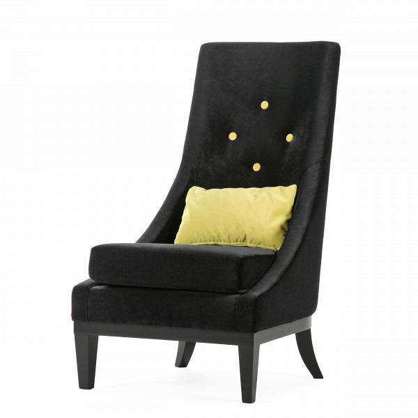 Кресло GinevraИнтерьерные<br>Дизайнерское кресло Ginevra (Гиневра) с высокой спинкой и тканевой обивкой на деревянных ножках от Sits (Ситс).<br><br><br> Ginevra — удобное стильное кресло с высокой спинкой, эргономичное и комфортное. Обивка благородного цвета и ножки изВнатурального дерева придают этому предмету мебели особый аристократизм, наводящий на мысль о временах короля Артура, отважных рыцарей и прекрасных дам. Королева Гвиневра тогда царила при дворе, покоряя сердца и заставляя биться за нее самых знаменитых рыц...<br><br>stock: 1<br>Высота: 103<br>Высота сиденья: 43<br>Ширина: 62<br>Глубина: 85<br>Цвет ножек: Черный<br>Цвет подушки: Лайм<br>Материал подушки: Полиэстер<br>Материал обивки: Полиэстер<br>Степень комфортности: Стандарт комфорт<br>Материал пуговиц: Полиэстер<br>Цвет пуговиц: Лайм<br>Коллекция ткани: Категория ткани III<br>Тип материала обивки: Ткань<br>Тип материала ножек: Дерево<br>Цвет обивки: Черный