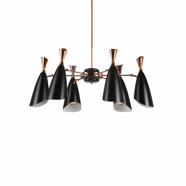 Подвесной светильник Duke Symmetry 6 лампПодвесные<br>Duke — это широкий модельный ряд подвесных и напольных светильников, выполненных в едином строгом стиле. Все они представляют собой уникальные изделия, дизайн которых гармонично сочетает в себе традиции и новаторства дизайнеров многих поколений. <br><br><br> Дизайнеров светильника вдохновило творческое наследие джазового музыканта с мировым именем Дюка Эллингтона, творившего в середине прошлого века.<br><br><br> Данная модель подвесного светильника Duke Symmetry 6 ламп — это уменьшенная версия одно...<br><br>stock: 0<br>Высота: 110<br>Диаметр: 120<br>Доп. цвет абажура: Золото розовое<br>Материал абажура: Алюминий<br>Ламп в комплекте: Нет<br>Напряжение: 220<br>Тип лампы/цоколь: E27<br>Цвет абажура: Черный