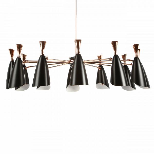 Подвесной светильник Duke Symmetry 12 лампПодвесные<br>Duke — это широкий модельный ряд подвесных и напольных светильников, выполненных в едином строгом стиле. Все они представляют собой уникальные изделия, дизайн которых гармонично сочетает в себе традиции и новаторства дизайнеров многих поколений. <br><br><br> Дизайнеров светильника вдохновило творческое наследие джазового музыканта с мировым именем Дюка Эллингтона, творившего в середине прошлого века.<br><br><br> Подвесной светильник Duke Symmetry 12 ламп — это 12 черных матовыхВабажуров, соедин...<br><br>stock: 0<br>Высота: 110<br>Диаметр: 160<br>Доп. цвет абажура: Золото розовое<br>Материал абажура: Металл<br>Ламп в комплекте: Нет<br>Напряжение: 220<br>Тип лампы/цоколь: E27<br>Цвет абажура: Черный