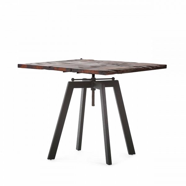 Обеденный стол ToughОбеденные<br>Дизайнерская квадратный обеденный стол Tough в индустриальном стиле со столешницей из массива дерева от Cosmo (Космо).Никакая обеденная зона не обойдется без обеденного стола — полноценного участника интерьера, собирающего всю семью за трапезой. Стол Tough — это массивный обеденный стол в индустриальном стиле, о чем говорят подобранные материалы и конструкция изделия. Антикварная столешница из натурального дерева в сочетании с грубым металлом выглядит эффектно и колоритно.В<br> <br> Важным м...<br><br>stock: 3<br>Высота: 72-92<br>Ширина: 80<br>Длина: 80<br>Цвет ножек: Черный<br>Цвет столешницы: Темно-коричневый<br>Материал столешницы: Массив состаренного дерева<br>Тип материала столешницы: Дерево<br>Тип материала ножек: Сталь