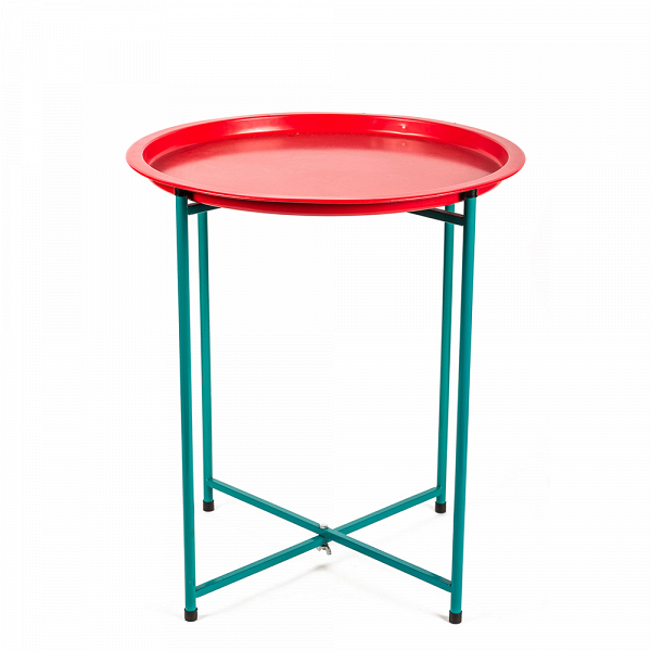 Кофейный стол Tavole складнойКофейные столики<br>Для яркогоВи стильного кофейного стола Tavole складной, разработанного для компании Seletti,Впридумать применениеВнесложно. Использовать его можно как кофейный или прикроватный столик. Благодаря приподнятым краям столешницы мелкие объекты не будут падать на пол. И благодаря им же одним легким движением верхнюю часть стола можно превратить в поднос, что делает егоВнаиудобнейшимВвариантом для сервировки завтрака или чайной трапезы.<br> <br> При желании стол можно использова...<br><br>stock: 0<br>Высота: 52<br>Диаметр: 45<br>Цвет столешницы: Красный<br>Тип материала каркаса: Металл<br>Цвет каркаса: Бирюзовый