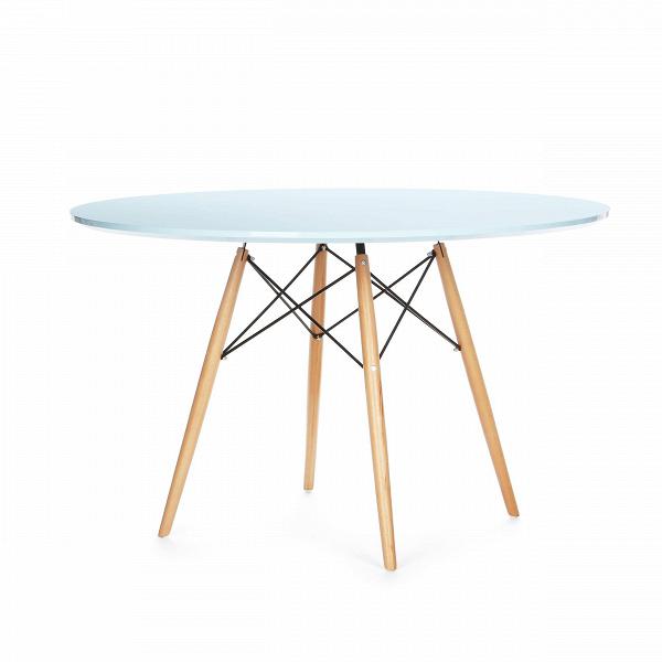 Обеденный стол Eiffel диаметр 120Обеденные<br>Дизайнерская легкий круглый ламинированный обеденный стол Eiffel (Ефель) диаметр 120 на тонких деревянных ножках от Cosmo (Космо).<br> Если вы ищете стол, за которым можно обедать, работать и играть как в помещении, так и снаружи, то приглядитесь к обеденному столу Eiffel диаметр 120.ВВневременной дизайн, разработанный еще сорок лет назад, успел стать любимцем миллионов потребителей по всему миру.<br> <br> Благодаря различному оригинальному цветовому исполнению стол может вписаться в любой сов...<br><br>stock: 6<br>Высота: 74,5<br>Диаметр: 120<br>Цвет ножек: Светло-коричневый<br>Цвет столешницы: Светло-голубой<br>Материал столешницы: Ламинированный МДФ<br>Тип материала столешницы: МДФ<br>Тип материала ножек: Дерево