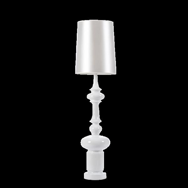 Напольный светильник KingНапольные<br>Напольный светильник King — классика, облаченная в цвет современного минимализма. Это по-настоящему красивый, ультрамодный светильник был разработан итальянским дизайнером Джорджо Гуриоли. Джорджо Гуриоли — современный и стремительно набирающий популярность дизайнер, которой постоянно создает все новые и новые светильники необычной формы, приковывающие взгляды миллионов людей по всему миру.<br> <br> Напольный светильник King имеет весьма громкое и броское имя и назван он так из-за высоты ножки, а...<br><br>stock: 0<br>Высота: 155<br>Диаметр: 40<br>Количество ламп: 1<br>Материал абажура: Ткань<br>Материал арматуры: Стеклопластик<br>Ламп в комплекте: Нет<br>Напряжение: 220<br>Тип лампы/цоколь: E27<br>Цвет абажура: Белый<br>Цвет арматуры: Белый<br>Дизайнер: Giorgio Gurioli