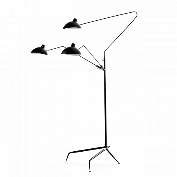 Напольный светильник Tripod Mouille 3 лампыНапольные<br>Напольный светильник Tripod Mouille 3 лампы — причудливая комбинация классики и свежих взглядов современных дизайнеров.<br> <br> Дизайнер изделия Серж Муй — мастер своего дела. Свою карьеру он начал после окончанияВПарижскойВшколыВприкладных искусств. <br> Серж Муй отчаянно пытался достичь эстетической гармонии несовместимого, способного придать динамику любому интерьеру. И действительно его лаконичные лампы стали своего рода иконой современного дизайна. Он считал, что традиционные с...<br><br>stock: 9<br>Высота: 209<br>Ширина: 143<br>Длина: 155<br>Количество ламп: 3<br>Материал абажура: Алюминий<br>Материал арматуры: Сталь<br>Мощность лампы: 40<br>Ламп в комплекте: Нет<br>Напряжение: 220<br>Тип лампы/цоколь: E27<br>Цвет абажура: Черный матовый<br>Дизайнер: Serge Mouille