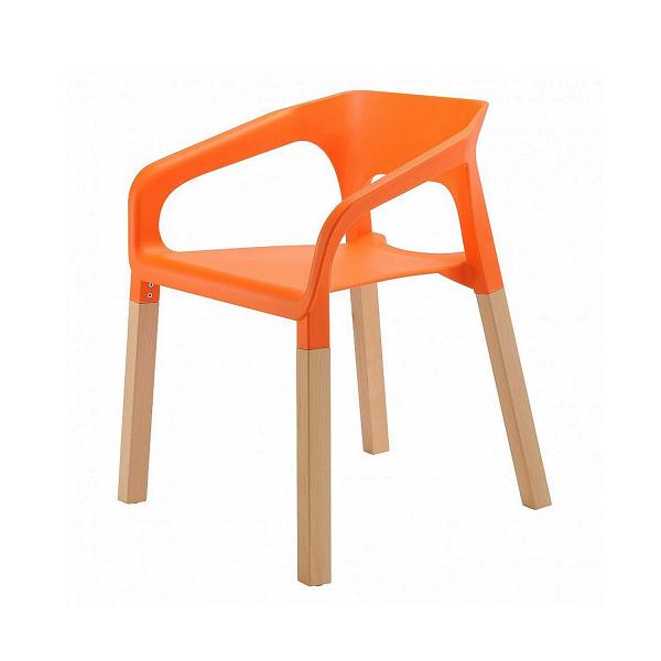 Стул VersaИнтерьерные<br>Непривычное сочетание дерева иВпластика делает стул Versa современным и привлекательным предметом столовой мебели. Прочность пластика вВсочетании сВтеплом древесины привнесет нотки креативности вВобыденность повседневного быта. <br><br><br> Этот стул отлично подойдет для обеденных помещений, обстановки дачных интерьеров, иВкомплектации интерьеров общественных учреждений. К тому же он может штабелироваться, что крайне важно для небольших помещений.<br><br>stock: 0<br>Цвет ножек: Светло-коричневый<br>Материал ножек: Массив бука<br>Тип материала каркаса: Пластик<br>Тип материала ножек: Дерево<br>Цвет каркаса: Оранжевый