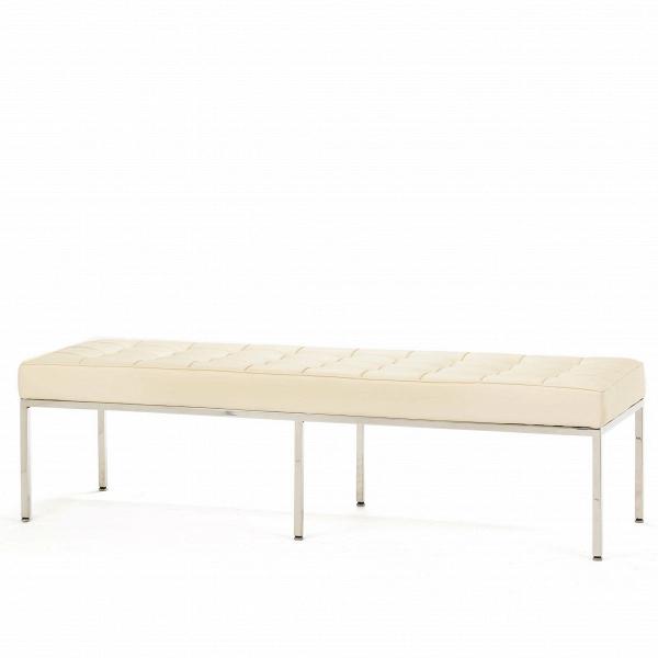 Скамья Florence кожаная ширина 154Скамьи и лавочки<br>Универсальная коллекция Florence включает вВсебя кресло для отдыха, диван, двухместную иВтрехместную скамью. Как иВмногие инновационные проекты, ставшие для мебельной промышленности золотым стандартом, скамья Florence характеризуется объективным перфекционизмом современного дизайна середины XX столетия иВархитектуры.<br><br><br> Скамья Florence кожаная ширина 154 состоит изВотличных, индивидуально сшитых квадратов обивки, приложенной кВхромированной стальной констр...<br><br>stock: 0<br>Высота: 43<br>Ширина: 153,5<br>Глубина: 50,5<br>Цвет ножек: Хром<br>Материал обивки: Кожа делюкс<br>Тип материала ножек: Сталь нержавеющая<br>Цвет обивки: Кремовый<br>Дизайнер: Florence Knoll