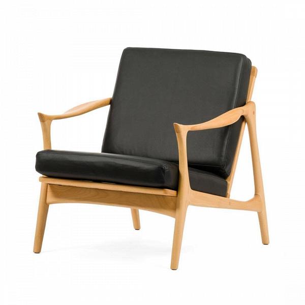 Кресло Model 711Интерьерные<br>Дизайнерское легкое мягкое кресло Model 711 (Модель 711) с деревянным каркасом от Cosmo (Космо).<br><br><br> Мебель Фредрика Кайзера яркая и функциональная, современная и легкая. Скандинавские черты в его работах перекликаются с необыкновенно красивой классикой и естественными линиями форм.<br><br><br> Именно таким является и кресло Model 711. Бук, использованный при создании этого кресла, обладает высоким качеством и прочностью древесины и ценится производителями мебели во всем мире. Деревянный карк...<br><br>stock: 2<br>Высота: 77<br>Высота сиденья: 39,5<br>Ширина: 71<br>Глубина: 81<br>Материал каркаса: Массив бука<br>Тип материала каркаса: Дерево<br>Коллекция ткани: Standart Leather<br>Тип материала обивки: Кожа<br>Цвет обивки: Черный<br>Цвет каркаса: Светло-коричневый<br>Дизайнер: Fredrik Kayser
