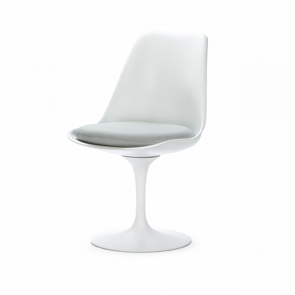 Стул TulipИнтерьерные<br>Дизайнерский стул Tulip (Тьюлип) из стекловолокна на алюминиевой ножке от Cosmo (Космо).<br><br> Стул Tulip — это один из самых знаменитых предметов мебели, он был разработан в 1958 году Ээро Саариненом. Поистине футуристический дизайн и классика модерна. Первый в мире одноногий стул изменил будущее дизайна мебели. Формой стул напоминает бокал или, как видно из названия, — тюльпан. Уникальное основание постамента обеспечивает устойчивость и выглядит эстетически привлекательным. Избавив стул от тр...<br><br>stock: 0<br>Высота: 81<br>Высота сиденья: 46<br>Ширина: 49,5<br>Глубина: 53<br>Цвет ножек: Белый матовый<br>Механизмы: Поворотная функция<br>Тип материала каркаса: Стекловолокно<br>Материал сидения: Полиуретан<br>Цвет сидения: Светло-серый<br>Тип материала сидения: Кожа искусственная<br>Коллекция ткани: Premium Grade PU<br>Тип материала ножек: Алюминий<br>Цвет каркаса: Белый матовый<br>Дизайнер: Eero Saarinen