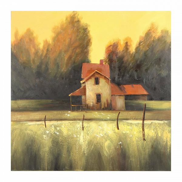 Картина Farm LandscapeКартины<br>Беглые лучи солнца, скользящие по одуванчиковому полю, ветхий дом и едва колышащиеся деревья — старый добрый деревенский пейзаж, знакомый нам с самого детства. Картина Farm Landscape — это классический пейзаж, изображающий жизнь в деревне. Вечерняя безмятежность сельской жизни будто сошла с картины и заряжает живой энергетикой.В<br> <br> Картина Farm Landscape подходит для интерьера гостиной или спальной комнаты в классическом стиле. Будь ваш интерьер декорирован темной или светлой мебелью, ...<br><br>stock: 7<br>Ширина: 100<br>Материал: Холст<br>Цвет: Разноцветный<br>Длина: 100