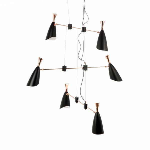 Подвесной светильник DukeПодвесные<br>Duke — это широкий модельный ряд подвесных и напольных светильников, выполненных в едином строгом стиле. Все они представляют собой уникальные изделия, дизайн которых гармонично сочетает в себе традиции и новаторства дизайнеров многих поколений.<br><br> Дизайнеров светильника вдохновило творческое наследие джазового музыканта с мировым именем Дюка Эллингтона, творившего в середине прошлого века. <br><br> Подвесной светильникВDuke — это осветительная лампа, выполненная стиле ар-деко. Это направле...<br><br>stock: 2<br>Высота: 180<br>Диаметр: 140<br>Доп. цвет абажура: Золото розовое<br>Количество ламп: 6<br>Материал абажура: Алюминий<br>Мощность лампы: 2<br>Ламп в комплекте: Нет<br>Напряжение: 220<br>Тип лампы/цоколь: E14<br>Цвет абажура: Черный