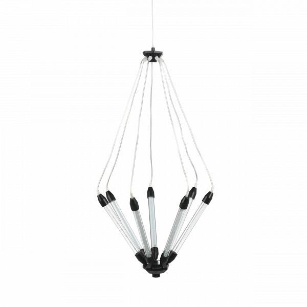 Подвесной светильник KroonПодвесные<br>Подвесной светильник Kroon — это особый дизайн, созданный с любовью к техно-стилю. Семь отдельных трубок со встроенными LED-лампочками объединены в одну конструкцию, которая по необычной задумке дизайнера предполагает подвижность. С помощью подъемного механизма вы с легкостью можете по-разному направлять свет и менять высоту. Это очень удобно в помещениях с невысокими потолками, но не менее удобно и в лофт-квартирах.В<br><br><br> Прочный металлический сплав, из которого изготовлена констру...<br><br>stock: 1<br>Высота: 180<br>Диаметр: 55<br>Количество ламп: 7<br>Материал абажура: Стекло<br>Материал арматуры: Металл<br>Мощность лампы: 1<br>Напряжение: 220<br>Тип лампы/цоколь: LED<br>Цвет абажура: Черный
