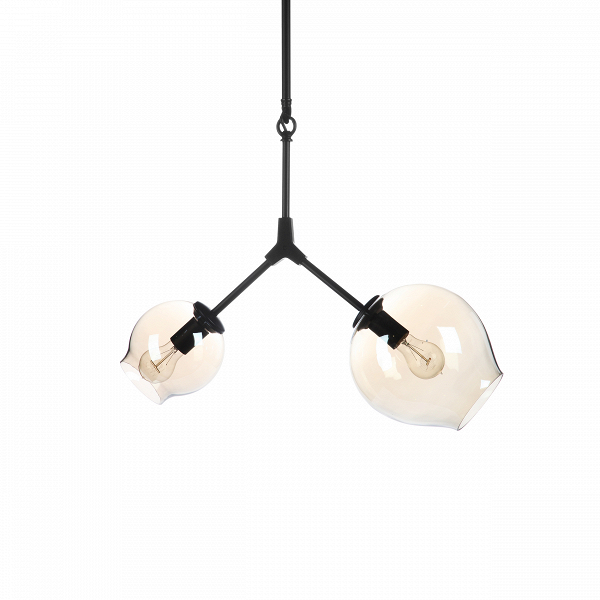 Подвесной светильник Branching Bubbles 2 лампыПодвесные<br>Знаете толк в минимализме и цените легкость и простоту в интерьере? Подвесной светильник Branching Bubbles 2 лампы порадует не только любителей такого типа интерьера, но и тех, кому больше нравятся элегантные и утонченные черты в окружающей обстановке.<br><br><br> Этот оригинальный подвесной светильник состоит всего из двух частей: достаточно длинный металлический держатель, к которому крепятся с двух сторон полупрозрачные шарообразные плафоны. Словно на мыльных пузырях, свет создает на этих п...<br><br>stock: 0<br>Высота: 107<br>Диаметр: 58<br>Количество ламп: 2<br>Материал абажура: Стекло<br>Материал арматуры: Металл<br>Мощность лампы: 40<br>Ламп в комплекте: Нет<br>Напряжение: 220<br>Тип лампы/цоколь: E27<br>Цвет абажура: Черный матовый<br>Дизайнер: Lindsey Adams Adelman
