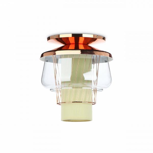 Потолочный светильник Silk Road диаметр 35Потолочные<br>Потолочный светильникВSilk Road диаметр 35 — это уникальное дизайнерское изделие. Яркую лампу накаливания обрамляют различные по текстуре и материалам абажуры. Все это составляет неповторимый дизайн светильников из коллекции Silk Road. Коллекция включает в себя подвесные и потолочные светильники, которые станут ярким акцентом любого современного интерьера.<br> <br> Данная модель потолочного светильника — это уменьшенный вариант оригинального изделия с диаметром в 46 см. Использовать светильн...<br><br>stock: 9<br>Высота: 42<br>Диаметр: 35<br>Количество ламп: 1<br>Материал абажура: Стекло<br>Материал арматуры: Металл<br>Мощность лампы: 13<br>Ламп в комплекте: Нет<br>Напряжение: 220<br>Тип лампы/цоколь: E27<br>Цвет абажура: Голубой<br>Цвет арматуры: Золото розовое