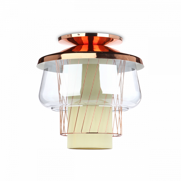 Потолочный светильник  Silk Road диаметр 46Потолочные<br>Потолочный светильникВSilk Road диаметр 46 — это уникальное дизайнерское изделие. Яркую лампу накаливания обрамляют различные по текстуре и материалам абажуры. Все это составляет неповторимый дизайн светильников из коллекции Silk Road. Она состоит из подвесных и потолочных светильников, которые станут ярким акцентом любого современного интерьера.<br><br> Данная модель светильника представлена в двух размерах, что поможет использовать изделие в различных по параметрам помещениях. Его универс...<br><br>stock: 8<br>Высота: 50<br>Диаметр: 46<br>Количество ламп: 1<br>Материал абажура: Стекло<br>Материал арматуры: Металл<br>Мощность лампы: 13<br>Ламп в комплекте: Нет<br>Напряжение: 220<br>Тип лампы/цоколь: E27<br>Цвет абажура: Голубой<br>Цвет арматуры: Золото розовое