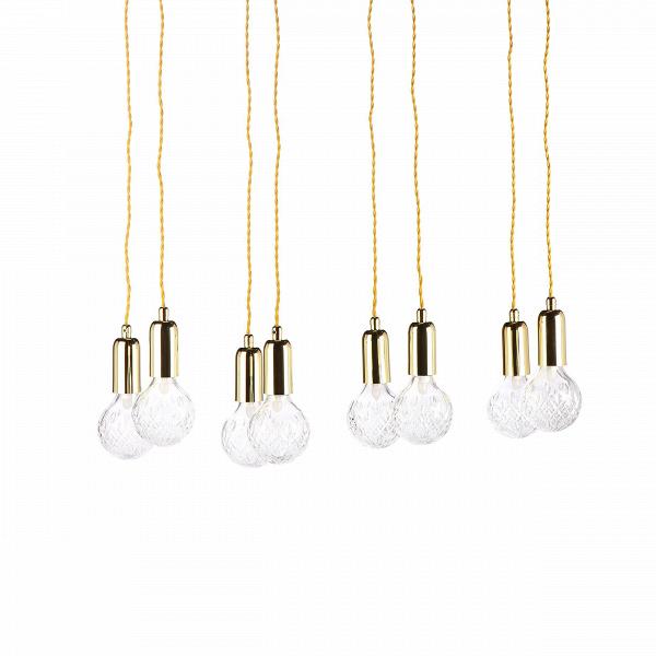 Подвесной светильник Crystal Bulb прямоугольныйПодвесные<br>Светильники в фоме гильз или капсул быстро набирают популярность, они стильные и практичные, подходящие практически под каждый интерьер. Подвесной светильник Crystal Bulb прямоугольный — это наборВсветильников в количестве восьми штук, объединенных на прямоугольной потолочной базе.В<br><br><br> Такие светильники легко осветят даже самую большую залу, придадут торжественности. Покупая такой светильник, можно украсить непривычными деталями декора дом или квартиру. Подойдет такой ...<br><br>stock: 1<br>Высота: 180<br>Ширина: 36<br>Длина: 80<br>Количество ламп: 8<br>Материал абажура: Стекло<br>Материал арматуры: Металл<br>Мощность лампы: 2<br>Ламп в комплекте: Да<br>Напряжение: 220<br>Тип лампы/цоколь: G9+Е27<br>Цвет абажура: Прозрачный<br>Цвет арматуры: Золотой