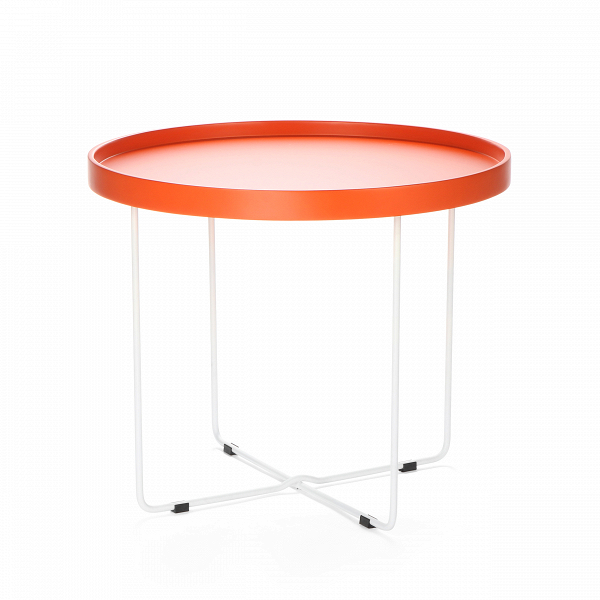 Кофейный стол ArvikaКофейные столики<br>Дизайнерский круглый легкий кофейный столик Arvika (Арвика) на высоких ножках от Cosmo (Космо).<br><br>Кофейный стол в домашнем интерьере не всегда необходим, но ценится теми, кто любит понежиться в удобном кресле за просмотром фильмов или сериалов. Но как быть, когда в квартире не хватает места, чтобы иметь отдельный столик для кофе? На это у компании Cosmo есть ответ — компактность. Благодаря конструкции и без того небольшойВоригинальный кофейный стол Arvika легко складывается, и его не ...<br><br>stock: 14<br>Высота: 50<br>Диаметр: 60<br>Цвет ножек: Белый<br>Цвет столешницы: Оранжевый<br>Тип материала столешницы: МДФ<br>Тип материала ножек: Сталь