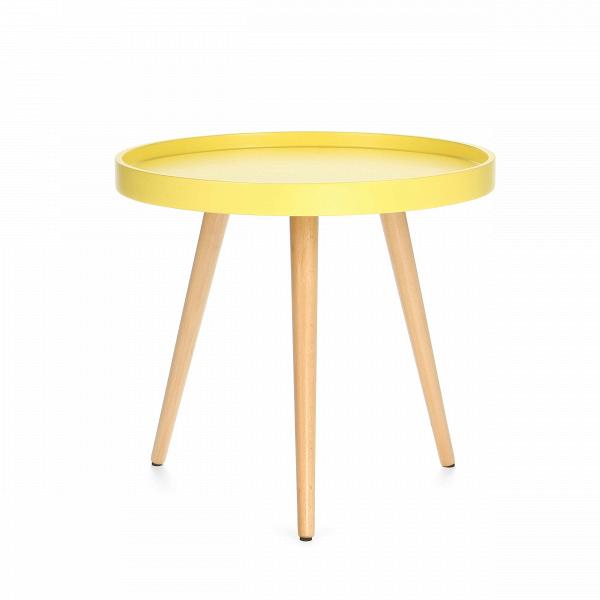 Кофейный стол KiloКофейные столики<br>Дизайнерский небольшой яркий кофейный столик Kilo (Кило) на трех ножках от Cosmo (Космо).<br><br>Кофейный стол Kilo — это небольшой столик, который прекрасно сочетается с интерьером любой современной гостиной. Несмотря на легкость, он прочен и устойчив, а каким еще качествам должен отвечать хороший кофейный стол?В<br> <br> Столешница выполнена из прочнойВМДФ в форме подноса. Бортики, обрамляющие столешницу, предотвращают падение лежащих на поверхности предметов, а пролитая на столе жидкос...<br><br>stock: 0<br>Высота: 45<br>Диаметр: 50<br>Цвет ножек: Светло-коричневый<br>Цвет столешницы: Желтый<br>Материал ножек: Массив бука<br>Тип материала столешницы: МДФ<br>Тип материала ножек: Дерево