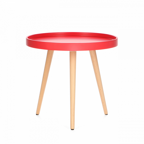 Кофейный стол KiloКофейные столики<br>Дизайнерский небольшой яркий кофейный столик Kilo (Кило) на трех ножках от Cosmo (Космо).<br><br>Кофейный стол Kilo — это небольшой столик, который прекрасно сочетается с интерьером любой современной гостиной. Несмотря на легкость, он прочен и устойчив, а каким еще качествам должен отвечать хороший кофейный стол?В<br> <br> Столешница выполнена из прочнойВМДФ в форме подноса. Бортики, обрамляющие столешницу, предотвращают падение лежащих на поверхности предметов, а пролитая на столе жидкос...<br><br>stock: 15<br>Высота: 45<br>Диаметр: 50<br>Цвет ножек: Светло-коричневый<br>Цвет столешницы: Красный<br>Материал ножек: Массив бука<br>Тип материала столешницы: МДФ<br>Тип материала ножек: Дерево
