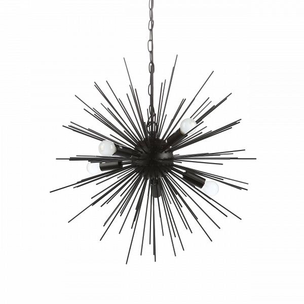 Подвесной светильник SputnikПодвесные<br>Подвесной светильник Sputnik — творение в стиле хай-тек, о чем говорит выбор материалов, форм и цвета. Высокотехнологичное исполнение также является тому подтверждением.В<br> <br> Модель светильника исполнена в двух любимых цветах стиля хай-тек — черном и белом. Это универсальная цветовая база, которую легко сочетать как с яркими и сочными, так и с нейтральными цветами. Светильник прекрасно подходит и для кухонь, и для жилых комнат. Его легко комбинировать с другим комнатным освещением — люб...<br><br>stock: 24<br>Диаметр: 60<br>Длина провода: 150<br>Количество ламп: 5<br>Материал абажура: Металл<br>Материал арматуры: Металл<br>Мощность лампы: 25<br>Ламп в комплекте: Нет<br>Напряжение: 220-240<br>Тип лампы/цоколь: E14<br>Цвет абажура: Черный матовый<br>Цвет арматуры: Черный матовый<br>Цвет провода: Черный