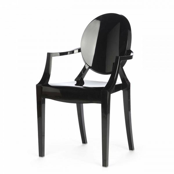Стул Louis GhostИнтерьерные<br>Дизайнерский глянцевый жесткий пластиковый стул Louis Ghost (Луи Гост) с круглым сиденьем на четырех ножках от Cosmo (Космо).<br><br>     Волна любви к маэстро промышленного дизайна французу Филиппу Старку, захлестнувшая мир несколько лет назад, отнюдь не спадает. Его предметы давно стали must have любого стильного интерьера, и стул Louis Ghost не исключение. ЭтотВбестселлер — ироничная фантазия на тему классического кресла в стиле Людовика XVI, не зря же и назван он «призрак Людовика». На б...<br><br>stock: 3<br>Высота: 92,5<br>Высота сиденья: 48,5<br>Ширина: 54<br>Глубина: 57,5<br>Материал каркаса: Поликарбонат<br>Тип материала каркаса: Пластик<br>Цвет каркаса: Черный<br>Дизайнер: Philippe Starck