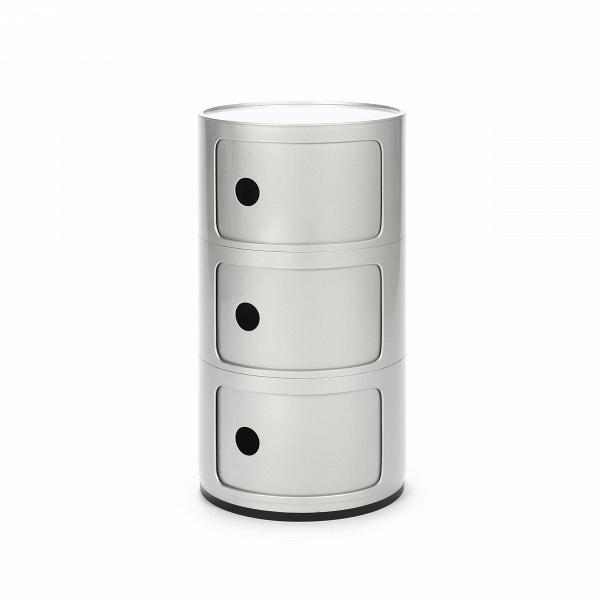 Тумба Componibili с 3 отсекамиТумбы и комоды<br>Мебель для хранения из коллекции Componibili от известного итальянского дизайнера Анны Кастелли Феррьери — это причудливый, но определенно стильный дизайн. Каждая из моделей коллекции отлично сочетается с рядом других, их размеры и формы комбинируются и позволяют составлять новые и новые предметы мебели, подходящих под ваши нужды.В<br> <br> Тумба Componibili с 3 отсеками — модель, которую можно использовать как самостоятельную, так и как приставную часть.<br><br>stock: 5<br>Высота: 58,5<br>Диаметр: 32<br>Материал каркаса: Пластик<br>Цвет каркаса: Серебряный<br>Дизайнер: Anna Castelli Ferrieri