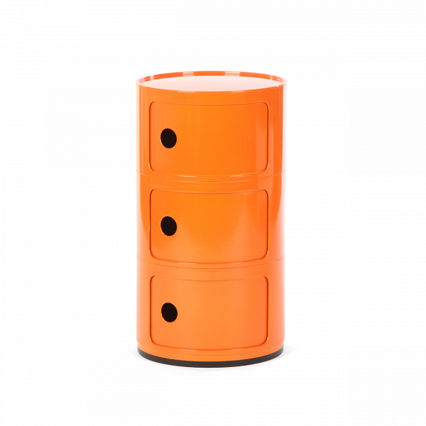 Тумба Componibili с 3 отсекамиТумбы и комоды<br>Мебель для хранения из коллекции Componibili от известного итальянского дизайнера Анны Кастелли Феррьери — это причудливый, но определенно стильный дизайн. Каждая из моделей коллекции отлично сочетается с рядом других, их размеры и формы комбинируются и позволяют составлять новые и новые предметы мебели, подходящих под ваши нужды.В<br> <br> Тумба Componibili с 3 отсеками — модель, которую можно использовать как самостоятельную, так и как приставную часть.<br><br>stock: 5<br>Высота: 58,5<br>Диаметр: 32<br>Материал каркаса: Пластик<br>Цвет каркаса: Оранжевый<br>Дизайнер: Anna Castelli Ferrieri