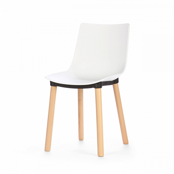 Стул HalИнтерьерные<br>Дизайнерский легкий белый стул Hal (Хол) из полипропилена на деревянных ножках от Cosmo (Космо).<br>Стул Hal — это дизайнерский проект, специально разработанный для кофеен, ресторанов и баров. Внешний облик этой модели говорит сам за себя. Такой оригинальный стул как нельзя лучше украсит и офисные помещения, предназначенные для отдыха. Ведь что может быть лучше, чем чашка ароматного кофе?<br> <br> Лучше только усесться на стул, держа в руках горячую кружку с бодрящим напитком и любимый журнал. И то...<br><br>stock: 28<br>Высота: 84<br>Высота спинки: 45<br>Ширина: 42<br>Глубина: 53<br>Цвет ножек: Светло-коричневый<br>Материал ножек: Массив дуба<br>Цвет сидения: Белый<br>Тип материала сидения: Полипропилен<br>Цвет сидения дополнительный: Черный<br>Тип материала ножек: Дерево