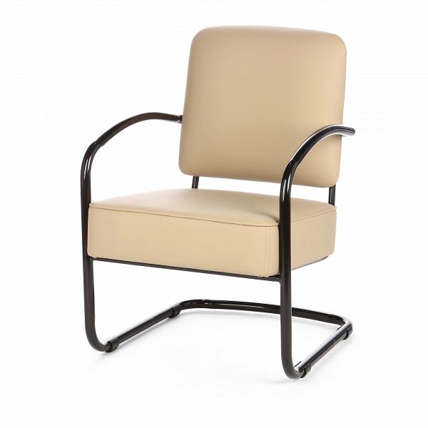 Кресло SuiteИнтерьерные<br>Дизайнерское легкое кресло Suite (Сьют) на черных металлических ножках от Cosmo (Космо).<br><br>Кресло Suite понравится любителям классики. Дизайн кресла прост и лаконичен. Все использованные материалы традиционны для офисной мебели. Кожаная обивка и стальной каркас — непременные атрибуты рабочих кресел, придающие им универсальность и сдержанный облик. Сглаженные углы изделия лишь подчеркивают описанные выше особенности. Однако не любое офисное кресло может придать статусности интерьеру.ВИ...<br><br>stock: 13<br>Высота: 84<br>Высота сиденья: 45<br>Ширина: 58<br>Глубина: 73<br>Тип материала каркаса: Сталь<br>Тип материала обивки: Полиуретан<br>Цвет обивки: Бежевый<br>Цвет каркаса: Черный