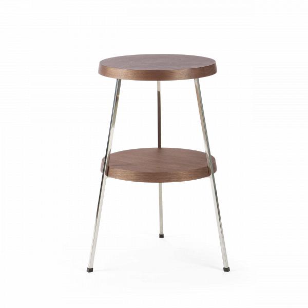 Кофейный стол Two TopКофейные столики<br>Кофейный стол — необязательный, но весьма желательный предмет мебели, который поможет дополнить или завершить интерьер любой гостиной комнаты. Он оказывает большое влияние на атмосферу помещения, дополняя его своей функциональностью и удобством.В<br><br><br> Кофейный стол Two Top, разработанный американским дизайнером Шоном Диксом, имеет необычный дизайн и удивительно удобен в использовании за счет своих двух поверхностей. Мебель Шона Дикса минималистична иВинтеллектуальна, прекрасно ...<br><br>stock: 0<br>Высота: 53,5<br>Диаметр: 30<br>Цвет ножек: Хром<br>Цвет столешницы: Орех американский<br>Материал столешницы: Фанера, шпон ореха<br>Тип материала столешницы: Фанера<br>Тип материала ножек: Сталь нержавеющая<br>Дизайнер: Sean Dix