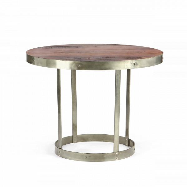 Обеденный стол CrampОбеденные<br>Дизайнерская круглый винтажный стол Cramp (Крэмп) со столешницей из состаренного массива вяза на металлическом каркасе от Cosmo (Космо).<br>         Представьте себе аромат горького кофе, спокойную музыку, мягкий свет. Кирпичные стены, кованые подсвечники и круглый винтажный столик — уютно, спокойно, можно с удовольствием расслабиться, отдыхая после рабочего дня. Изготовленный в индустриальном стилеВстол CrampВсочетает в себе холод металла и теплоту дерева, он станет одним из тех важн...<br><br>stock: 0<br>Высота: 75,5<br>Диаметр: 100<br>Цвет ножек: Бронза пушечная<br>Цвет столешницы: Коричневый<br>Материал столешницы: Массив вяза состаренный<br>Тип материала столешницы: Дерево<br>Тип материала ножек: Сталь