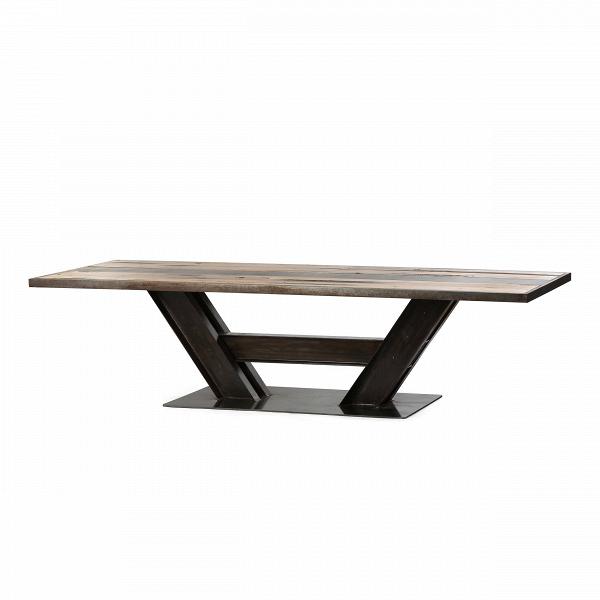Обеденный стол BeamОбеденные<br>Дизайнерская длинный обеденный стол Beam на черных толстых металлических ножках и столешницей из состаренного массива вяза от Cosmo (Космо).<br>         Индустриальный стиль не теряет популярности уже многие годы. Грубые формы, необработанные поверхности, простые и недорогие материалы. Кроме своеобразной эстетической привлекательности стиль отличается практичностью и функциональностью.<br><br><br> Стол Beam — отличный образчик индустриального стиля. Столешница изготовлена из натуральной древесины, де...<br><br>stock: 1<br>Высота: 78<br>Ширина: 100<br>Длина: 300<br>Цвет ножек: Черный глянец<br>Цвет столешницы: Коричневый<br>Материал столешницы: Массив вяза состаренный<br>Тип материала столешницы: Дерево<br>Тип материала ножек: Сталь