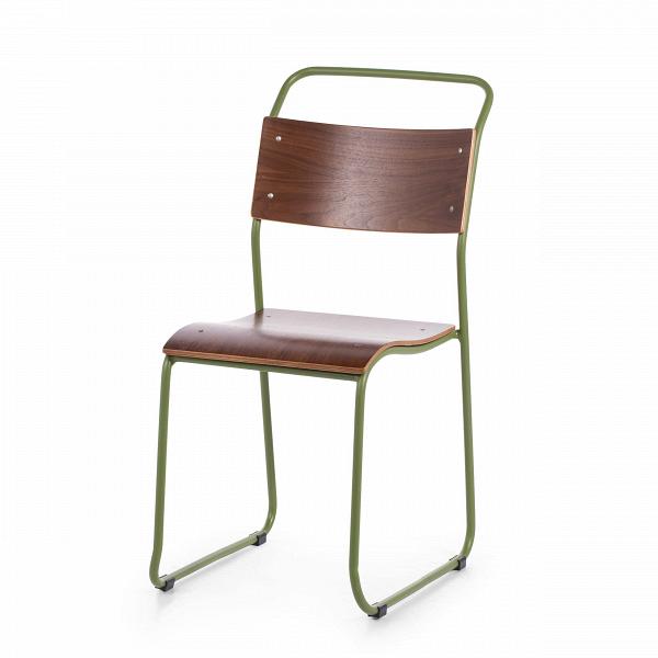 Стул ChurchИнтерьерные<br>Дизайнерский легкий минималистичный яркий стул Church (Чарч) из стали с деревянными сиденьем и спинкой от Cosmo (Космо).<br>Дизайн стула Church был специально разработан для кафе и ресторанов. Стул идеально подходит для заведений с большим потоком посетителей, поскольку выполнен из прочных материалов. К тому же стул легко штабелируется, что позволяет хранить десятки их без загромождения пространства.<br> <br> Оригинальный дизайн стула выполнен в классических традициях скандинавского стиля, популярн...<br><br>stock: 23<br>Высота: 85.5<br>Высота сиденья: 45.3<br>Ширина: 44.5<br>Глубина: 56.5<br>Тип материала каркаса: Сталь<br>Материал сидения: Фанера, шпон ореха<br>Цвет сидения: Орех<br>Тип материала сидения: Дерево<br>Цвет каркаса: Зеленый матовый