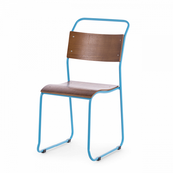 Стул ChurchИнтерьерные<br>Дизайнерский легкий минималистичный яркий стул Church (Чарч) из стали с деревянными сиденьем и спинкой от Cosmo (Космо).<br>Дизайн стула Church был специально разработан для кафе и ресторанов. Стул идеально подходит для заведений с большим потоком посетителей, поскольку выполнен из прочных материалов. К тому же стул легко штабелируется, что позволяет хранить десятки их без загромождения пространства.<br> <br> Оригинальный дизайн стула выполнен в классических традициях скандинавского стиля, популярн...<br><br>stock: 22<br>Высота: 85.5<br>Высота сиденья: 45.3<br>Ширина: 44.5<br>Глубина: 56.5<br>Тип материала каркаса: Сталь<br>Материал сидения: Фанера, шпон клена<br>Цвет сидения: Темно-коричневый<br>Тип материала сидения: Дерево<br>Цвет каркаса: Голубой матовый