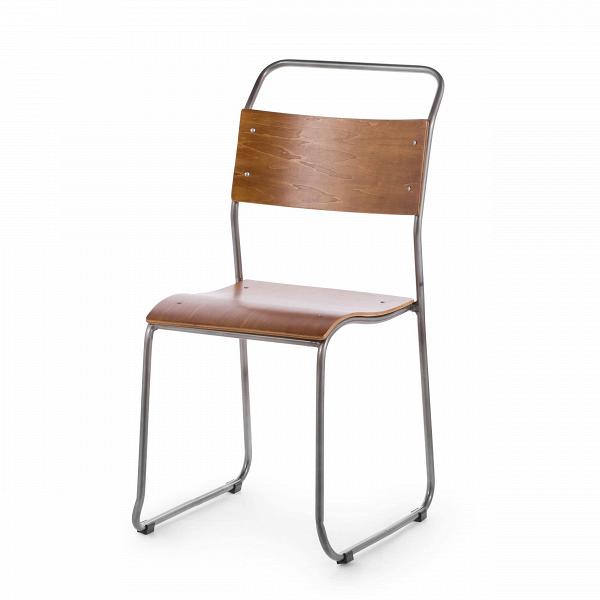 Стул ChurchИнтерьерные<br>Дизайнерский легкий минималистичный яркий стул Church (Чарч) из стали с деревянными сиденьем и спинкой от Cosmo (Космо).<br>Дизайн стула Church был специально разработан для кафе и ресторанов. Стул идеально подходит для заведений с большим потоком посетителей, поскольку выполнен из прочных материалов. К тому же стул легко штабелируется, что позволяет хранить десятки их без загромождения пространства.<br> <br> Оригинальный дизайн стула выполнен в классических традициях скандинавского стиля, популярн...<br><br>stock: 3<br>Высота: 85.5<br>Высота сиденья: 45.3<br>Ширина: 44.5<br>Глубина: 56.5<br>Тип материала каркаса: Сталь<br>Материал сидения: Фанера, шпон клена<br>Цвет сидения: Коричневый<br>Тип материала сидения: Дерево<br>Цвет каркаса: Бронза пушечная
