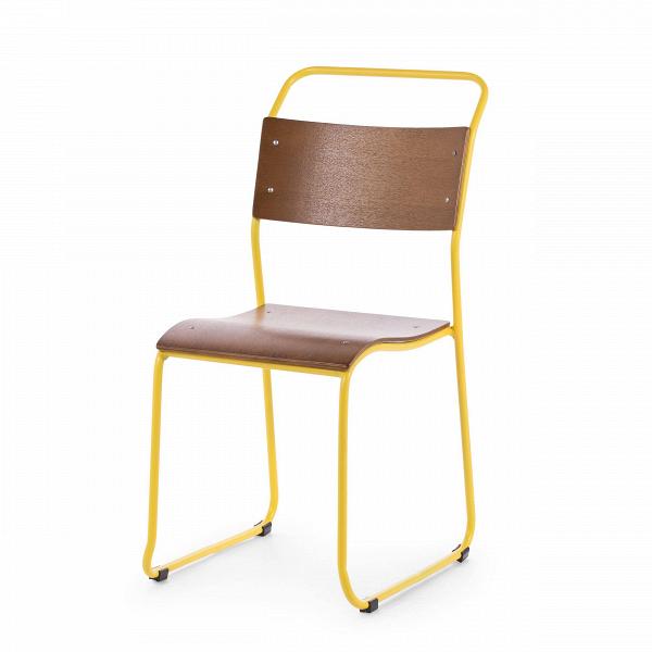 Стул ChurchИнтерьерные<br>Дизайнерский легкий минималистичный яркий стул Church (Чарч) из стали с деревянными сиденьем и спинкой от Cosmo (Космо).<br>Дизайн стула Church был специально разработан для кафе и ресторанов. Стул идеально подходит для заведений с большим потоком посетителей, поскольку выполнен из прочных материалов. К тому же стул легко штабелируется, что позволяет хранить десятки их без загромождения пространства.<br> <br> Оригинальный дизайн стула выполнен в классических традициях скандинавского стиля, популярн...<br><br>stock: 15<br>Высота: 85.5<br>Высота сиденья: 45.3<br>Ширина: 44.5<br>Глубина: 56.5<br>Тип материала каркаса: Сталь<br>Материал сидения: Фанера, шпон клена<br>Цвет сидения: Темно-коричневый<br>Тип материала сидения: Дерево<br>Цвет каркаса: Жёлтый матовый