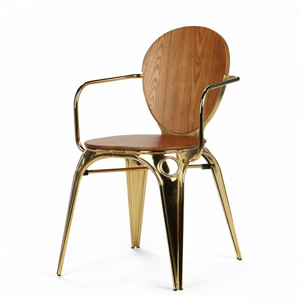 Стул LouixИнтерьерные<br>Дизайнерский стул Louix (Луикс) из фанеры с подлокотниками от ().<br><br> Дизайнер Александр Аразола виртуозно соединил практичность и эстетику. Его творения неВпросто стильные, они имеют свой характер, свое настроение. Легкость и простота присутствуют и в этомВстуле.<br><br><br> Светлый и воздушный, прочный и надежный, стул Louix спроектирован в чистом французском стиле, на стыке индустриальной техники, популярной воВФранции в 20-х годах ХХВвека, и классических мотивов, берущих н...<br><br>stock: 9<br>Высота: 83,5<br>Высота сиденья: 46<br>Ширина: 60<br>Глубина: 52<br>Цвет спинки: Коричневый<br>Материал спинки: Фанера, шпон ореха<br>Тип материала каркаса: Сталь<br>Материал сидения: Массив ореха<br>Цвет сидения: Орех<br>Тип материала спинки: Дерево<br>Тип материала сидения: Дерево<br>Цвет каркаса: Золотой<br>Дизайнер: Alexandre Arazola