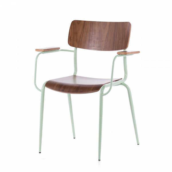 Стул Mies с подлокотникамиИнтерьерные<br>Дизайнерский легий стул Mies с подлокотниками из стали и дерева от Cosmo (Космо).<br>Стулья Mies от компании Cosmo — это две модели, отличающиеся наличием подлокотников. Таким образом, вы можете подобрать наиболее подходящую под ваши цели мебель для сидения — обеденную, а возможно, и рабочую или интерьерную.В<br> <br> Оригинальный стул Mies с подлокотникамиВ— это удобный и вполне классический предмет интерьера в скандинавском стиле. Текстура натуральной древесины гармонично смотрится с па...<br><br>stock: 0<br>Высота: 83<br>Ширина: 62<br>Глубина: 55<br>Тип материала каркаса: Сталь<br>Материал сидения: Фанера, шпон ореха<br>Цвет сидения: Орех<br>Тип материала сидения: Дерево<br>Цвет каркаса: Светло-зеленый
