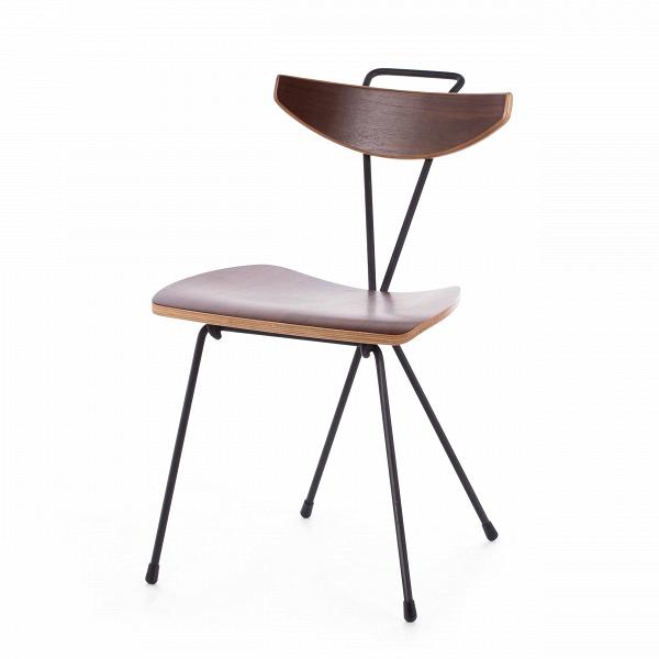 Стул EeroИнтерьерные<br>Дизайнерский стул Eero (Иеро) в стиле конструктивизма из тонких стальных прутьев с сиденьем и спинкой из ореха от от (Космо).<br>Глядя на стул Eero, сложно сказать однозначно о стилевой принадлежности его дизайна. В нем присутствуют прямые углы и правильная геометрия, что говорит о конструктивизме. Для его производства подобраны натуральные материалы, что является отсылкой к скандинавскому стилю. А сочетание отдельных деталей свидетельствует о присутствии в дизайне изделия датского модерна. Но ...<br><br>stock: 4<br>Высота: 77<br>Ширина: 62<br>Глубина: 45.5<br>Тип материала каркаса: Сталь<br>Материал сидения: Фанера, шпон ореха<br>Цвет сидения: Орех<br>Тип материала сидения: Дерево<br>Цвет каркаса: Черный