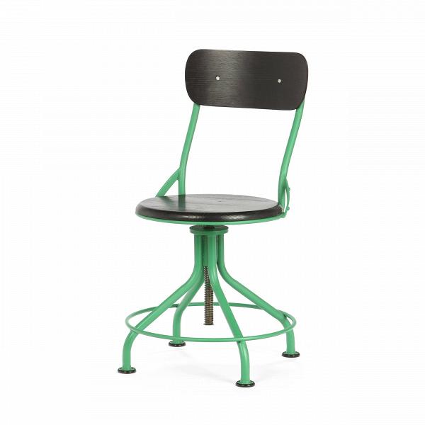 Стул VintnerИнтерьерные<br>Дизайнерский яркий крепкий стул Vintner (Винтнер) необычной формы из стали с деревянными сиденьем и спинкой в индустриальном стиле от Cosmo (Космо).<br>Что примечательно, индустриальный стиль в интерьере не ограничивается только лишь гальванизированной сталью, состаренной древесиной, а также украшением из проводов и прочего. Часто мебель в индустриальном стиле бывает яркой, красочной и вполне минималистичной.<br> <br> Оригинальный стул Vintner является ярким примером разнообразия индустриального ст...<br><br>stock: 14<br>Высота: 81-95<br>Высота сиденья: 44.5-58<br>Ширина: 44.5<br>Глубина: 49<br>Цвет спинки: Черный<br>Механизмы: Регулировка высоты<br>Материал спинки: Фанера, шпон дуба<br>Тип материала каркаса: Сталь<br>Материал сидения: Массив дуба<br>Цвет сидения: Черный<br>Тип материала спинки: Дерево<br>Тип материала сидения: Дерево<br>Цвет каркаса: Зеленый матовый