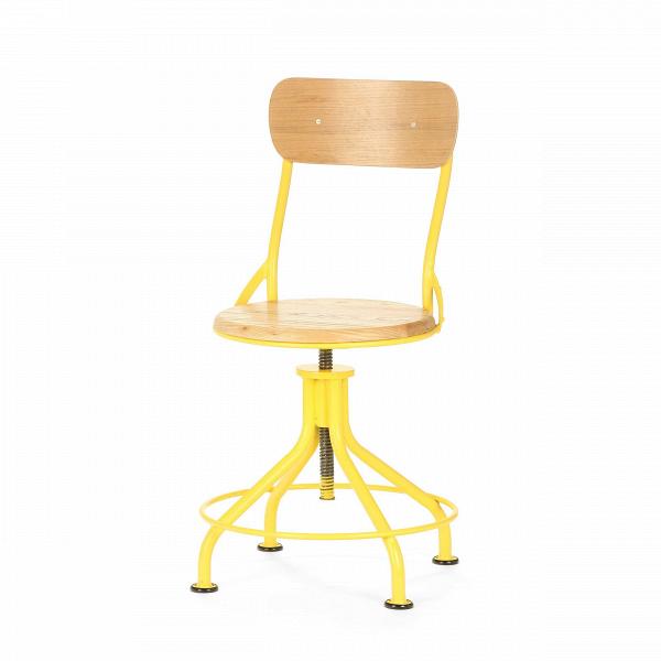 Стул VintnerИнтерьерные<br>Дизайнерский яркий крепкий стул Vintner (Винтнер) необычной формы из стали с деревянными сиденьем и спинкой в индустриальном стиле от Cosmo (Космо).<br>Что примечательно, индустриальный стиль в интерьере не ограничивается только лишь гальванизированной сталью, состаренной древесиной, а также украшением из проводов и прочего. Часто мебель в индустриальном стиле бывает яркой, красочной и вполне минималистичной.<br> <br> Оригинальный стул Vintner является ярким примером разнообразия индустриального ст...<br><br>stock: 17<br>Высота: 81-95<br>Высота сиденья: 44.5-58<br>Ширина: 44.5<br>Глубина: 49<br>Цвет спинки: Дуб<br>Механизмы: Регулировка высоты<br>Материал спинки: Фанера, шпон дуба<br>Тип материала каркаса: Сталь<br>Материал сидения: Массив дуба<br>Цвет сидения: Дуб<br>Тип материала спинки: Дерево<br>Тип материала сидения: Дерево<br>Цвет каркаса: Жёлтый матовый