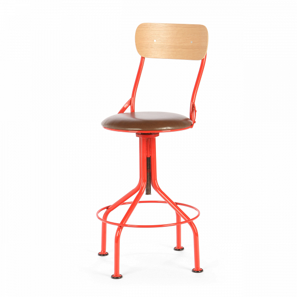 Барный стул VintnerБарные<br>Что примечательно, индустриальный стиль в интерьере не ограничивается только лишь гальванизированной сталью, состаренной древесиной, а также украшением из проводов и прочего. Часто мебель в индустриальном стиле бывает яркой, красочной и вполне минималистичной.<br> <br> Барный стул Vintner как раз служит доказательством в пользу вышесказанного. Он смотрится изящным и современным — все что нужно для дизайнерского интерьера последнего тысячелетия! Для тех, кто все же отдает предпочтение темным или п...<br><br>stock: 18<br>Высота: 101-115<br>Высота сиденья: 66.5-80<br>Ширина: 44.5<br>Глубина: 47.5<br>Цвет спинки: Дуб<br>Материал спинки: Фанера, шпон дуба<br>Тип материала каркаса: Сталь<br>Материал сидения: Полиуретан<br>Цвет сидения: Коричневый<br>Тип материала спинки: Дерево<br>Тип материала сидения: Кожа искусственная<br>Цвет каркаса: Красный