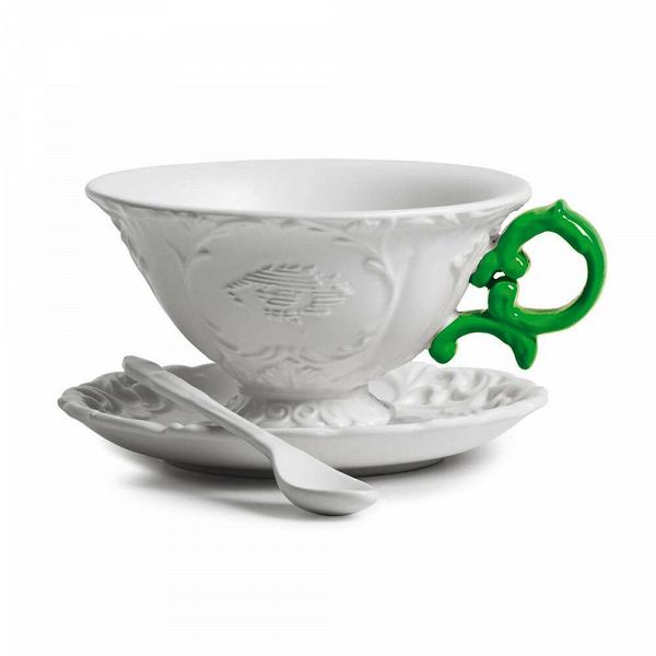 Чайная пара I-TeaПосуда<br>Чайная пара I-Tea из коллекции изысканных предметов кухонной утвари компании Seletti выполнена вВклассическом стиле барокко, замысловатость иВроскошь которого необычно дополнена деталями вВярких неоновых оттенках. <br> <br> Чайная пара I-Tea отличается витиеватыми ручками сВмелким узором иВдекорированными основами. Предметы коллекции смотрятся богато иВизысканно иВмогут достойно украсить самый стильный интерьер.<br><br>stock: 0<br>Высота: 12<br>Материал: Фарфор<br>Цвет: Белый + зеленая ручка/ White + Green<br>Диаметр: 15