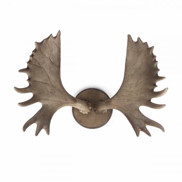 Декор ForesterНастенный декор<br>Большинство заядлых охотников и рыбаков любят украшать свой дом какими-либо элементами и вещами, которые напоминают им о любимом занятии. Это могут быть удочки, головы и шкуры животных, охотничьи ружья, какие-то трофеи и прочее. Такие атрибуты не просто имеют связь с каким-то хобби, но и создают совершенно уникальную атмосферу в доме.<br><br><br> Декор ForesterВотносится именно к таким, природным, украшениям интерьера. Forester<br>представляет собой лосиные рога, крепящиеся к стене. Декор и...<br><br>stock: 6<br>Высота: 22.5<br>Ширина: 38<br>Материал: Смола<br>Цвет: Коричневый<br>Длина: 51