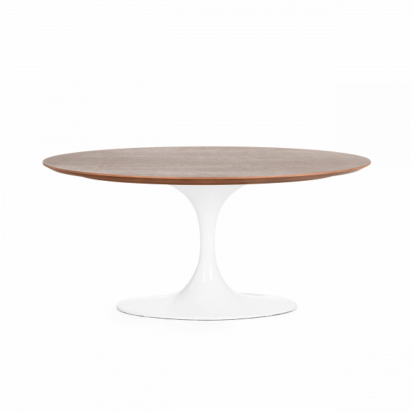 Кофейный стол Tulip с деревянной столешницей высота 41Кофейные столики<br>Дизайнерский круглый кофейный стол Tulip (Тьюлеп) с высотой 41 см и с деревянной столешницей на одной белой ножке от Cosmo (Космо).<br><br><br> Ээро Сааринен — крупный представитель американских архитекторов и промышленных дизайнеров. В ходе собственных экспериментов Ээро сформировал собственный неофутуристический стиль. В его направлении преобладает простота иВширота структурных кривых. Настоящей находкой архитектора в создании мебели стала модель Tulip («nюльпан») — кресла и столы на одно...<br><br>stock: 0<br>Высота: 41<br>Диаметр: 55<br>Цвет ножек: Белый глянец<br>Цвет столешницы: Орех американский<br>Материал столешницы: Фанера, шпон ореха<br>Тип материала столешницы: Фанера<br>Тип материала ножек: Алюминий<br>Дизайнер: Eero Saarinen