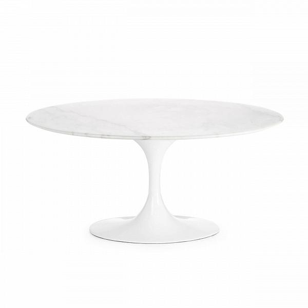 Кофейный стол Tulip с мраморной столешницей высота 41Кофейные столики<br>Дизайнерский белый круглый кофейный стол Tulip (Тьюлеп) с высотой 41 см на одной ножке от Cosmo (Космо).<br><br><br> Ээро Сааринен — крупный представитель американских архитекторов и промышленных дизайнеров. В ходе собственных экспериментов Ээро сформировал собственный неофутуристический стиль. В его направлении преобладает простота иВширота структурных кривых. Настоящей находкой архитектора в создании мебели стала модель Tulip («тюльпан») — кресла и столы на одной опоре.<br><br><br> Кофейный сто...<br><br>stock: 0<br>Высота: 41<br>Ширина: 55<br>Длина: 90<br>Цвет ножек: Белый глянец<br>Цвет столешницы: Желто-белый<br>Материал столешницы: Мрамор китайский<br>Тип материала столешницы: Мрамор<br>Тип материала ножек: Алюминий<br>Дизайнер: Eero Saarinen