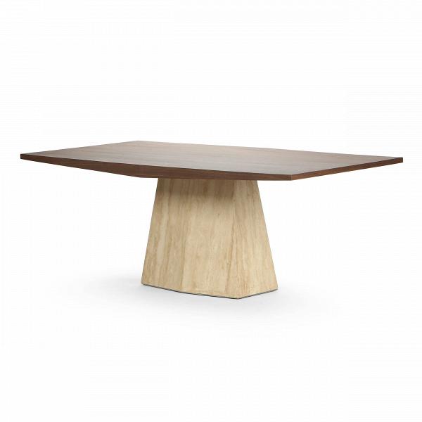 Обеденный стол SyllableОбеденные<br>Дизайнерская креативный прямоугольный обеденный стол Syllable со столешницей из массива американского ореха на мраморной ножке от Cosmo (Космо).Стол SyllableВ— вот уж по-настоящему видный предмет интерьера. Компания Cosmo дарит вам возможность поселить в своей обеденной зоне этот статный стол с массивными столешницей и подстольем. Габариты стола делают его дизайн не иначе как грандиознымВ— такой гость в вашей гостиной или кухне уместит за собой до 6 человек. Обеденные трапезы станут...<br><br>stock: 1<br>Высота: 75<br>Диаметр: 110<br>Длина: 200<br>Цвет ножек: Светло-коричневый<br>Цвет столешницы: Орех американский<br>Материал столешницы: МДФ, шпон ореха<br>Тип материала столешницы: МДФ<br>Тип материала ножек: Мрамор