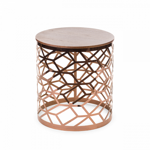 Кофейный стол FigaroКофейные столики<br>Дизайнерский круглый журнальный столик Figaro (Фигаро) из металла с деревянной столешницей от Cosmo (Космо).<br><br>В настоящее время кофейные столикиВнабирают все большуюВпопулярность и становятся неотъемлемым атрибутом современной гостиной комнаты. Этот функциональный предмет интерьера всегда приходится к месту: его можно использовать для сервировки чаепития, в качестве столика для настольной лампы или же складывать на нем журналы и газеты. Как бы то ни было, красивый кофейный стол&amp;...<br><br>stock: 0<br>Высота: 56<br>Диаметр: 50<br>Цвет ножек: Розовый хромированный<br>Цвет столешницы: Орех<br>Материал столешницы: Массив ореха<br>Тип материала столешницы: Дерево<br>Тип материала ножек: Металл