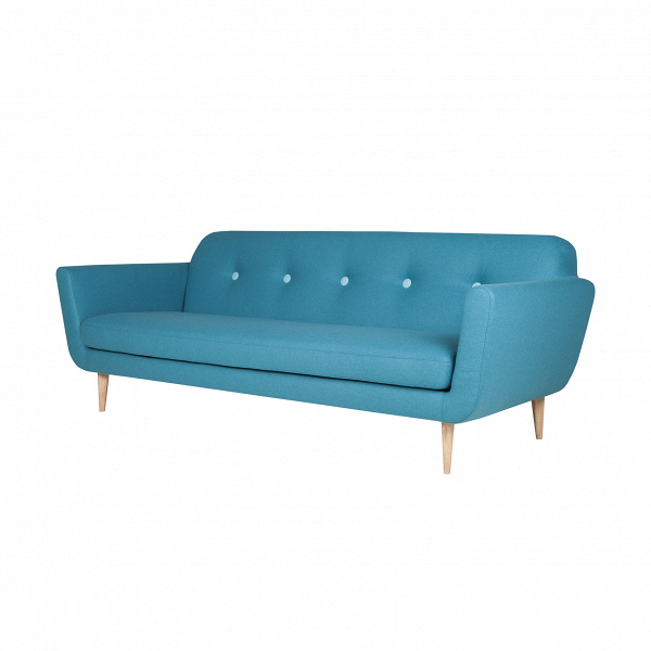 Диван OttoТрехместные<br>Дизайнерский комфортный тканевый диван Otto (Отто) на высоких деревянных ножках от Sits (Ситс).<br>         Трехместные диваны — это самый оптимальный вариант для большинства помещений, такие диваны не займут много места, и в то же время на нем смогут с удобством разместиться несколько человек. Такие диваны очень удобны в домашней обстановке, когда хочется освободить побольше пространства в комнате и сделать ее более уютной и приветливой.<br><br><br> Оригинальный диван Otto ширина 217 — это именно то...<br><br>stock: 0<br>Высота: 77<br>Высота сиденья: 43<br>Глубина: 88<br>Длина: 217<br>Цвет ножек: Беленый дуб<br>Материал обивки: Шерсть, Полиамид<br>Степень комфортности: Стандарт комфорт<br>Материал пуговиц: Шерсть, Полиамид<br>Цвет пуговиц: Светло-бирюзовый<br>Форма подлокотников: Стандарт<br>Коллекция ткани: Категория ткани III<br>Тип материала обивки: Ткань<br>Тип материала ножек: Дерево<br>Цвет обивки: Бирюзовый